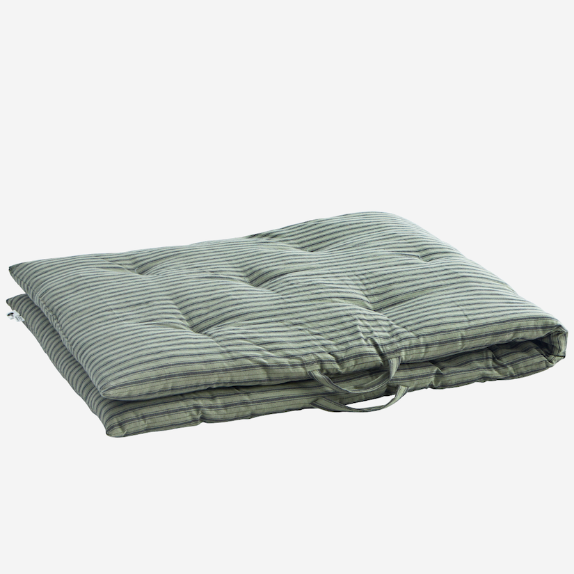 Striped Cotton Mattress Moss Green and Grey