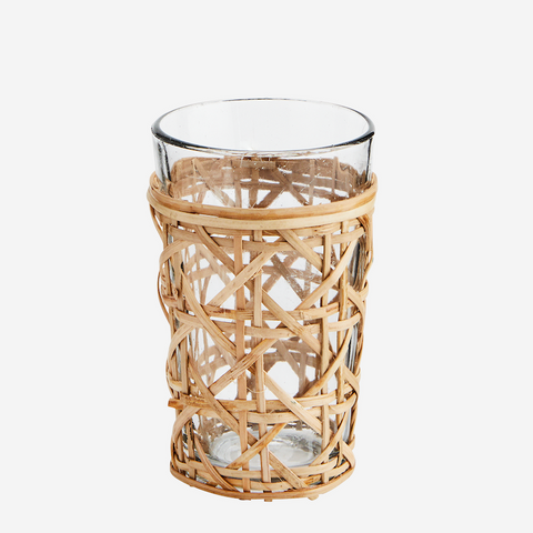 Drinking Glass with Bamboo Cane