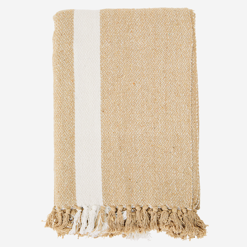 Striped Woven Throw with Fringes Sand