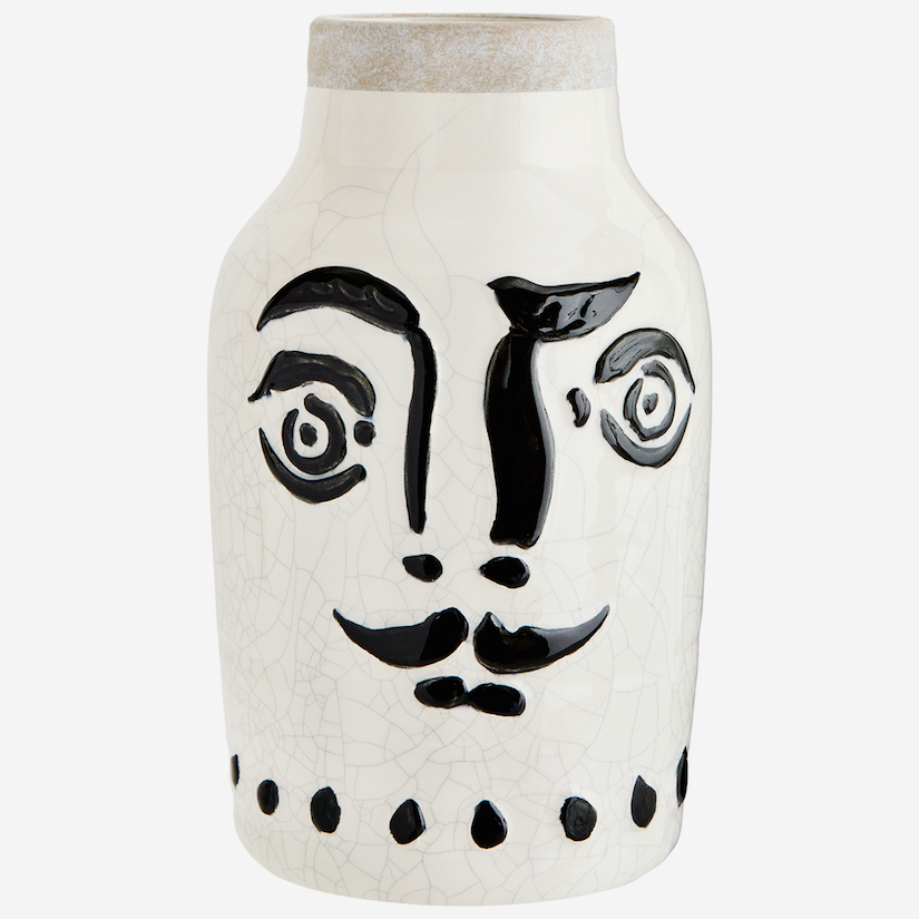 Stoneware Vase With Moustache Painted Face