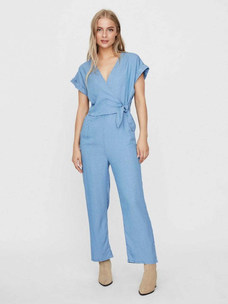 Laura V Neck Knot Jumpsuit Light Blue Denim