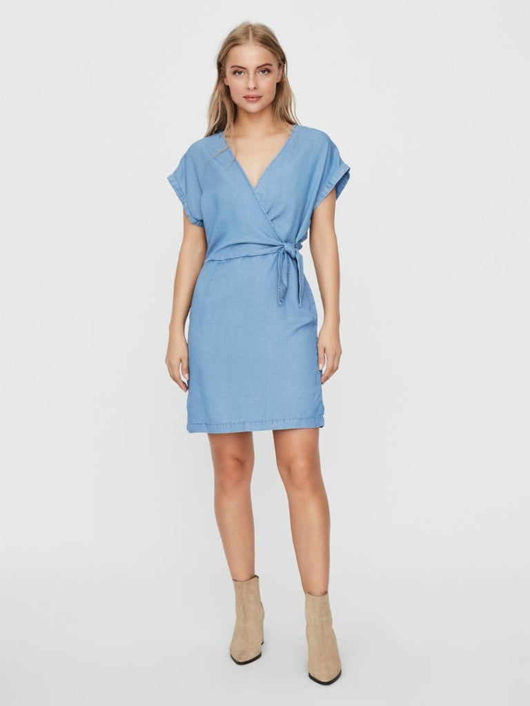 Lisa Short Wrap Dress Light Blue Denim