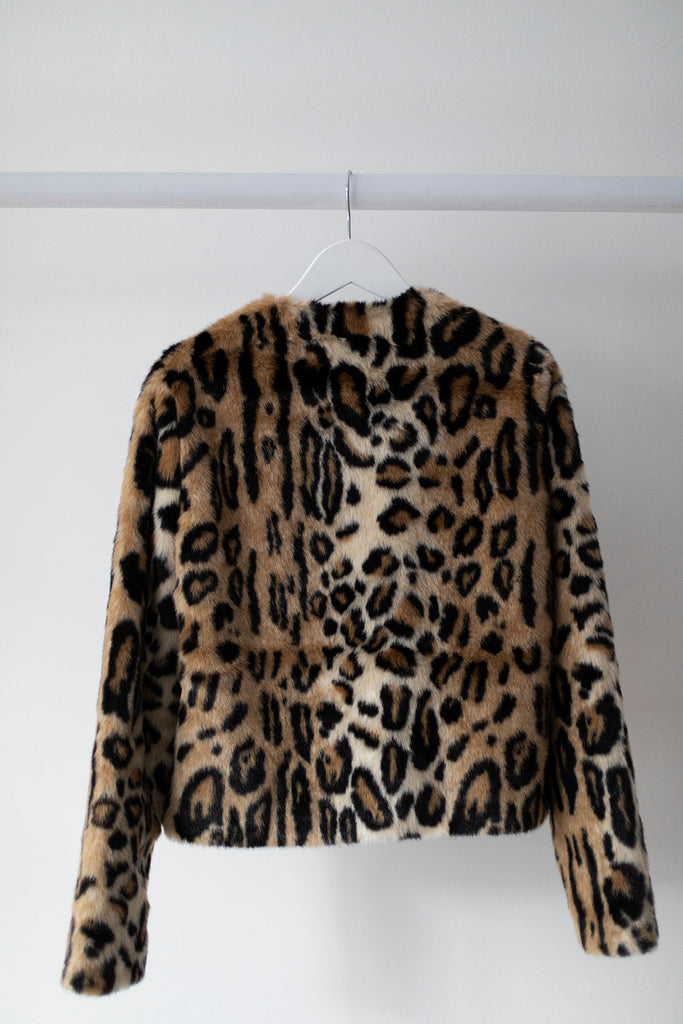 Rioalanis Short Faux Fur Jacket Tobacco Brown Leopard