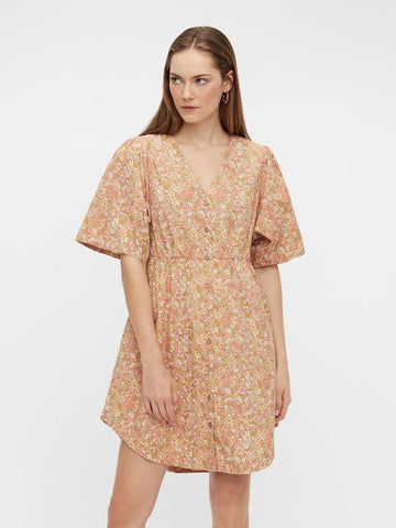 Mima 2/4 Floral Shirt Dress Tan