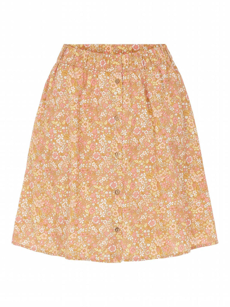 Mima Floral Button Skirt Tan