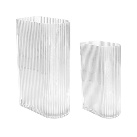 Clear Ribbed Vase Set of 2