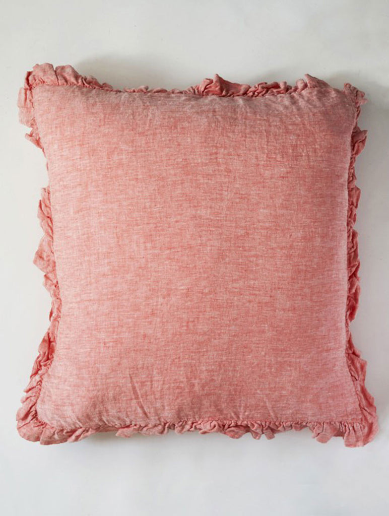 Olivia Coral Large Linen Cushion