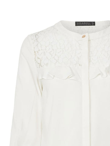 Aurora lace panel frill shirt