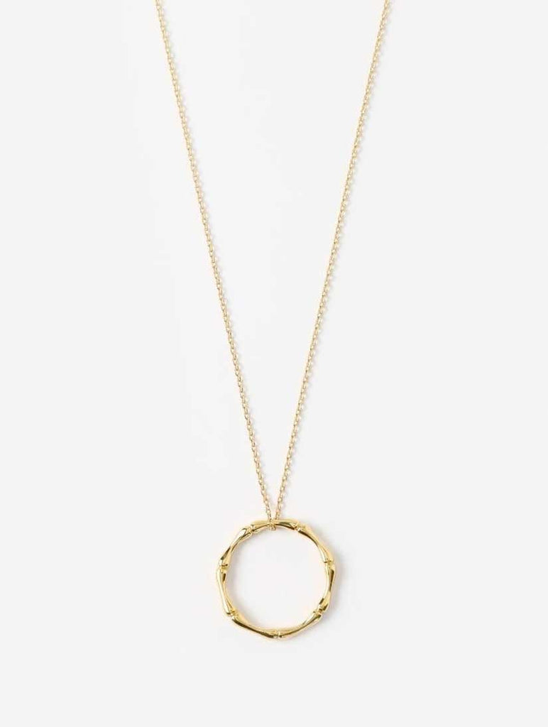 Bamboo Ring Short Necklace Pale Gold