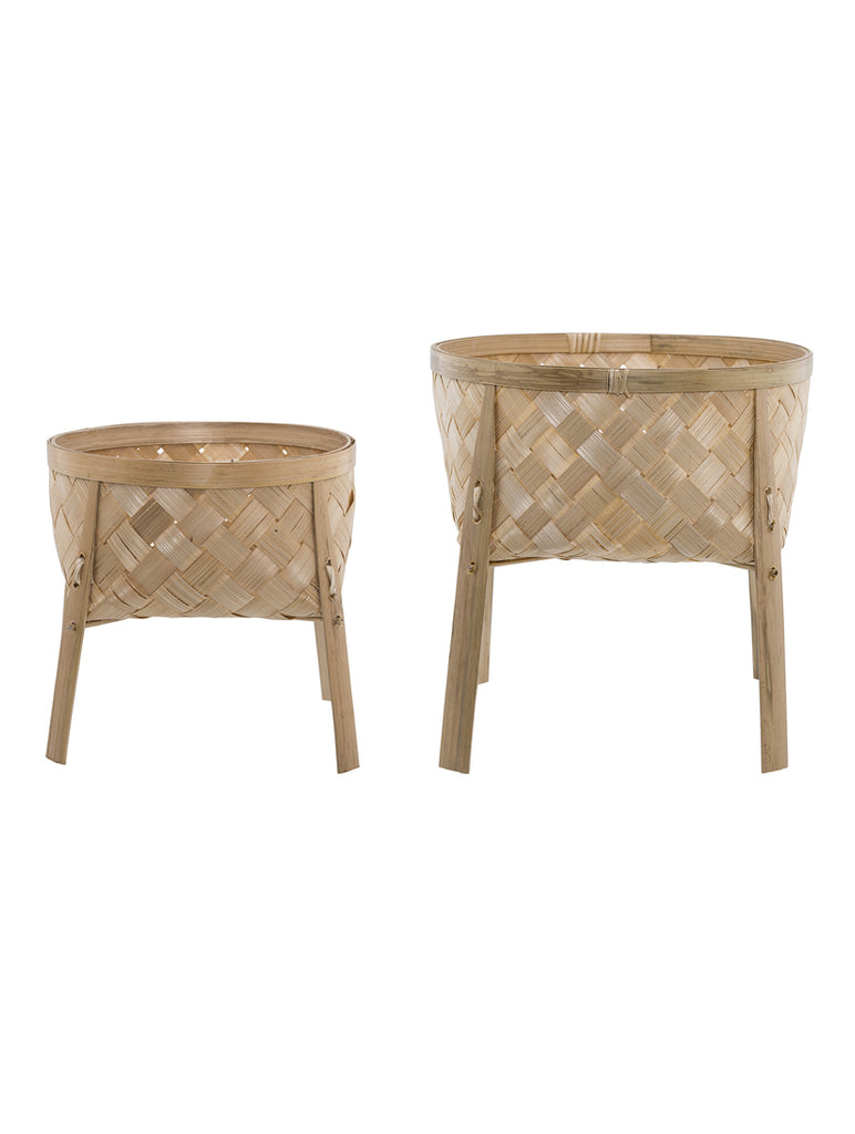 Set Of Two Bamboo Flowerpots On Legs