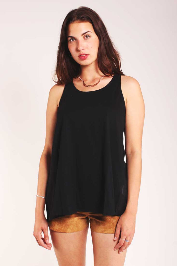 black cross back top louche batia