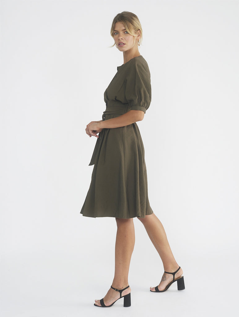 Bayou Khaki Structured Dress