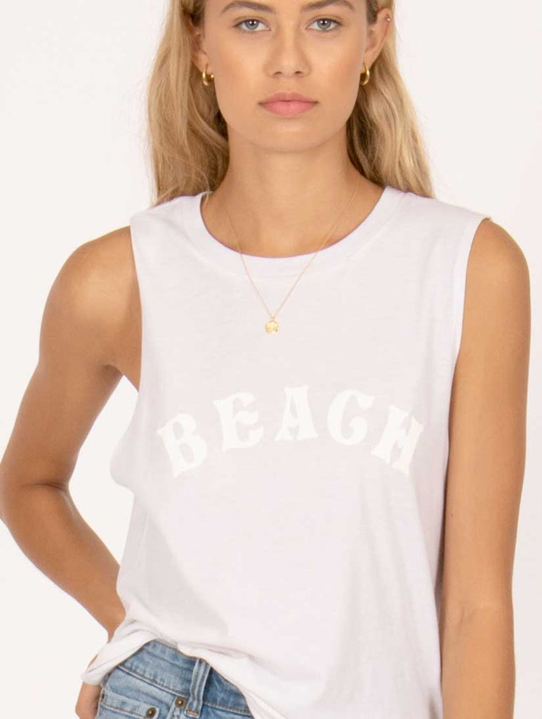 Beach Rat Muscle Tee Vintage White