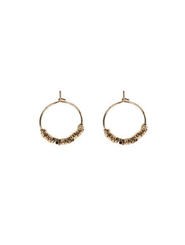 Clover Metal Bead Hoop Earrings Gold