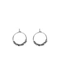 Clover Metal Bead Hoop Earrings Silver
