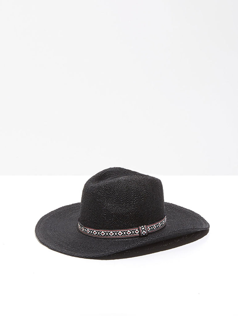 Black Wide Brim Hat with Ribbon