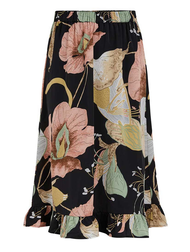 Bloomi Floral Midi Skirt Black