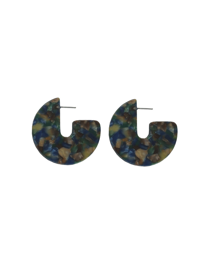 Blue Cosette Half Moon Resin Earrings
