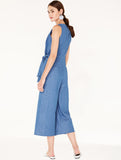 Cropped Denim Jumpsuit with Front Overlay and Side Tie Blue