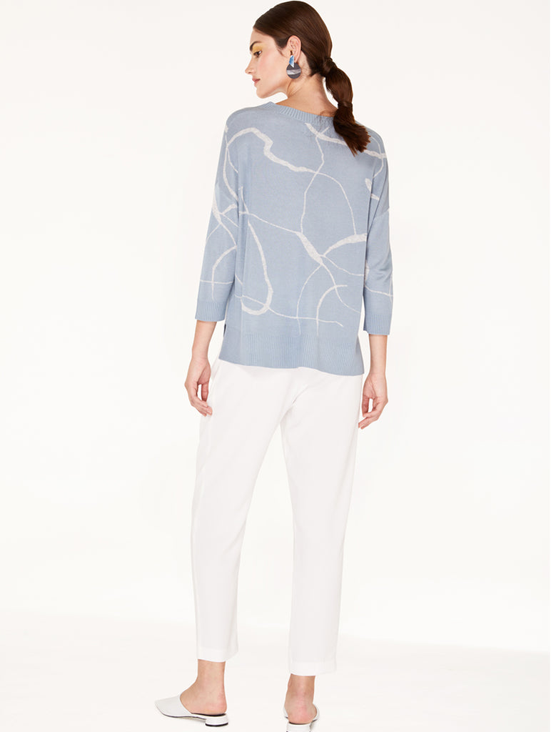 V-Neck Top With Marble Print Light Blue/Light Grey