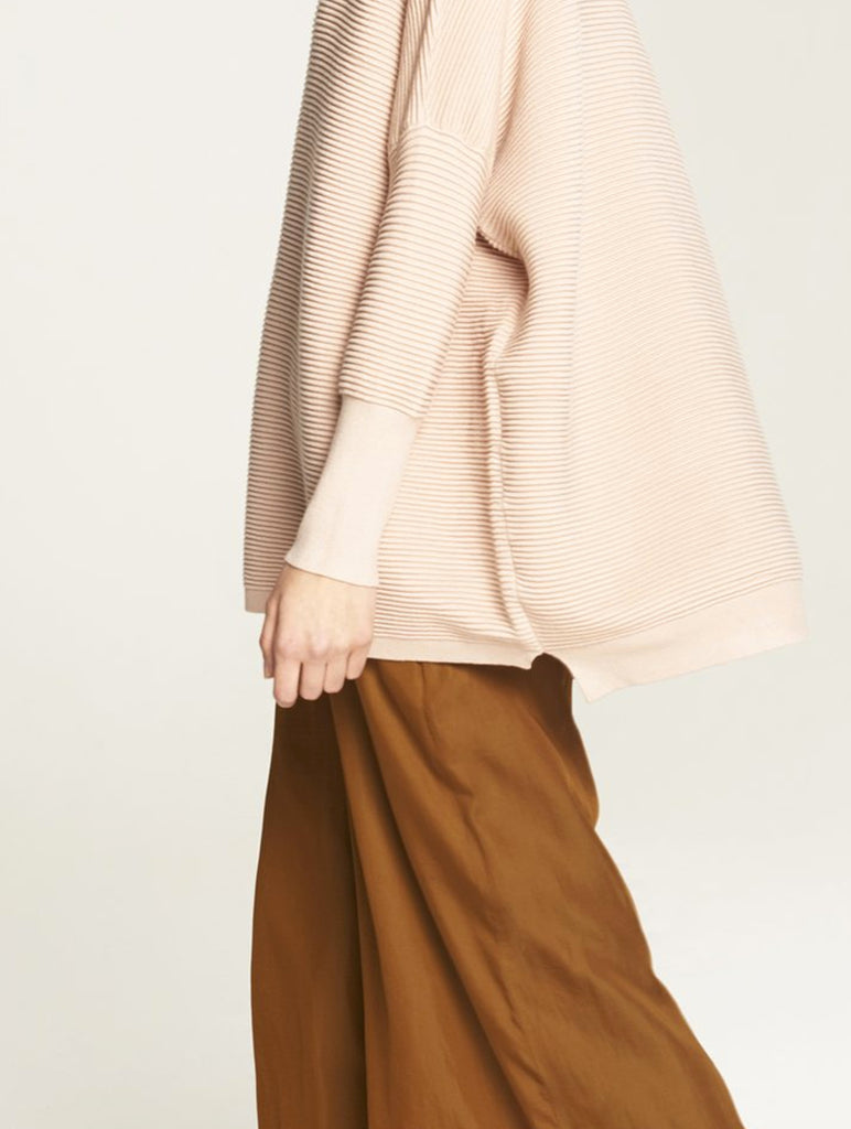 Ribbed Jumper with Side Splits Blush