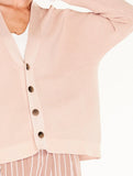 Ribbed V-Neck Short Cardigan Blush