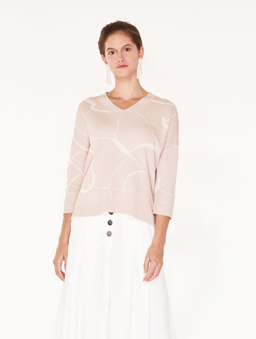 V-Neck Top With Marble Print Light Blush/Cream