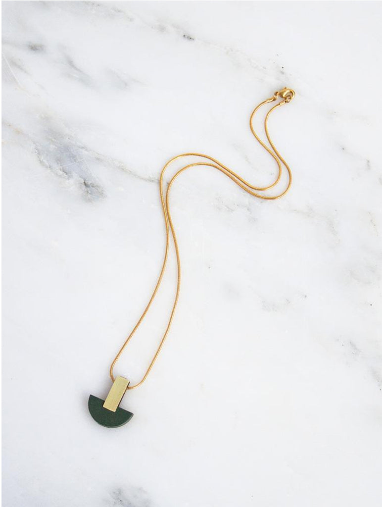 Crescent Necklace Green