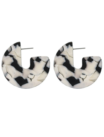 B&W Cosette Half Moon Resin Earrings