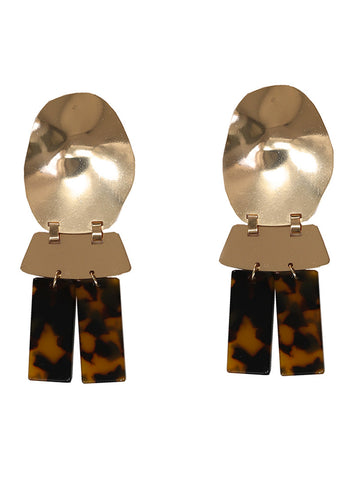 Gold Camelia Abstract Perspex Earrings