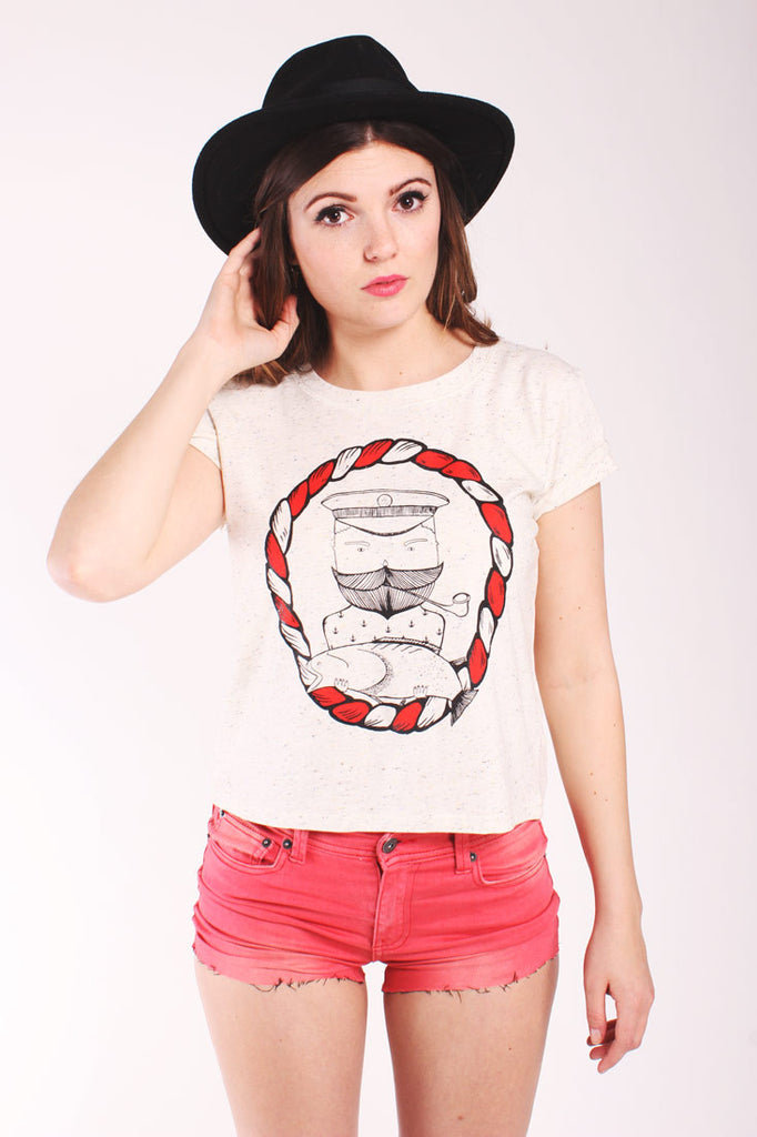 captain tash cream tshirt with sailor fish and moustache
