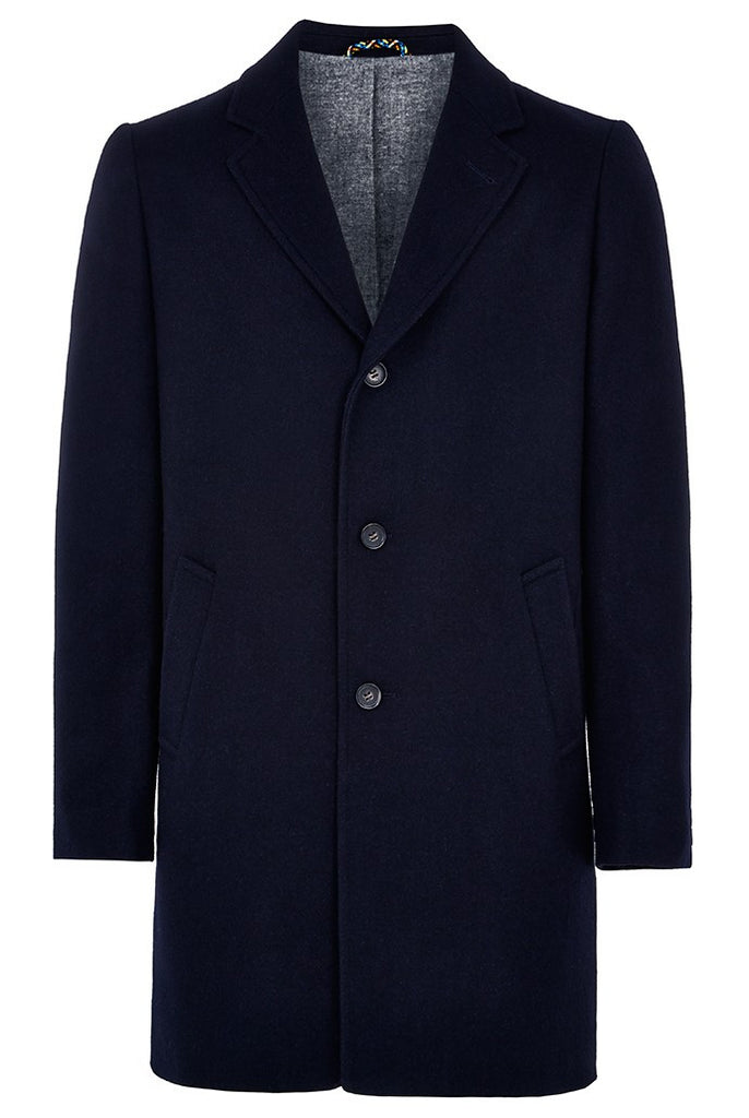Navy wool blend longline mens coat.