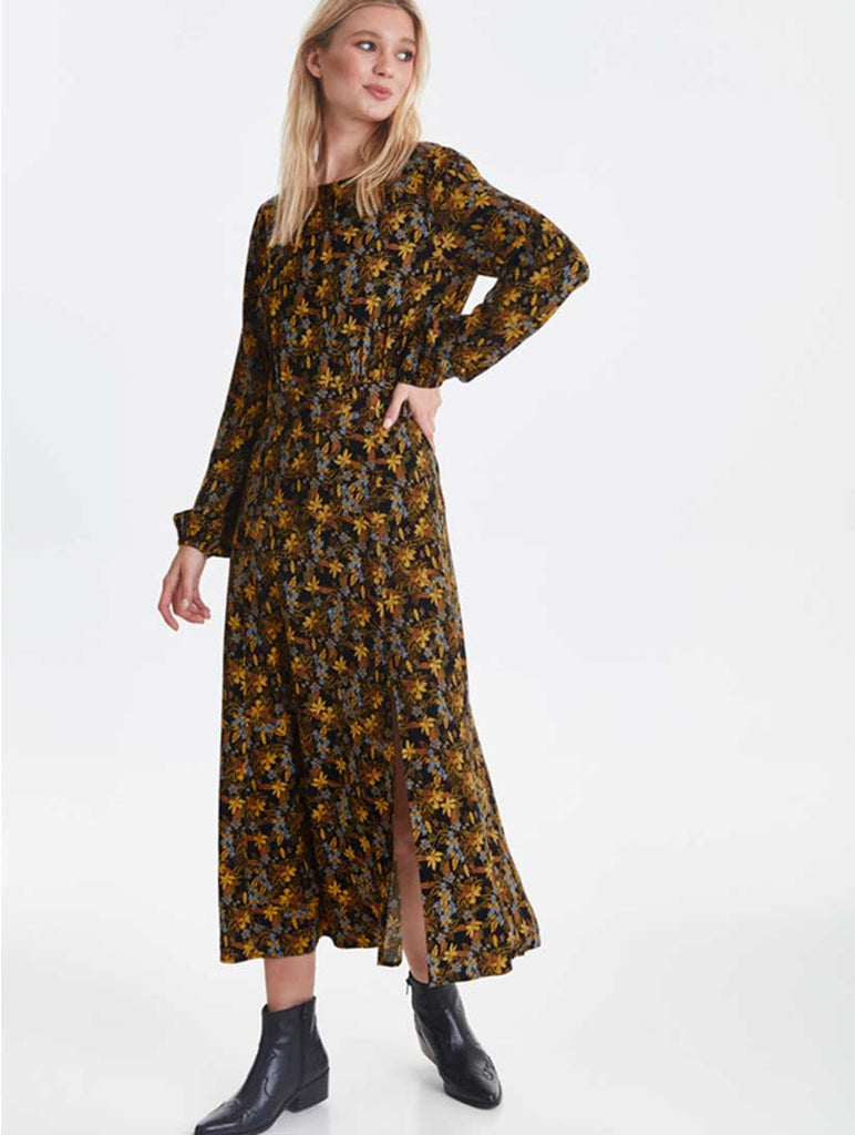 Celia Long Sleeve Black Print Dress