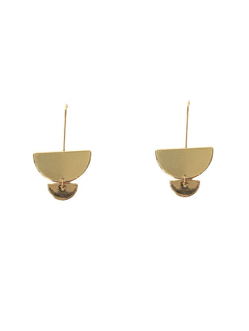 Gold Morel Long Graduating Cemi Circle Earrings
