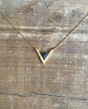 Deco Triangle Charcoal Necklace