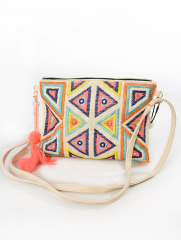 Embroidered Clutch Bag With Coral Tassel