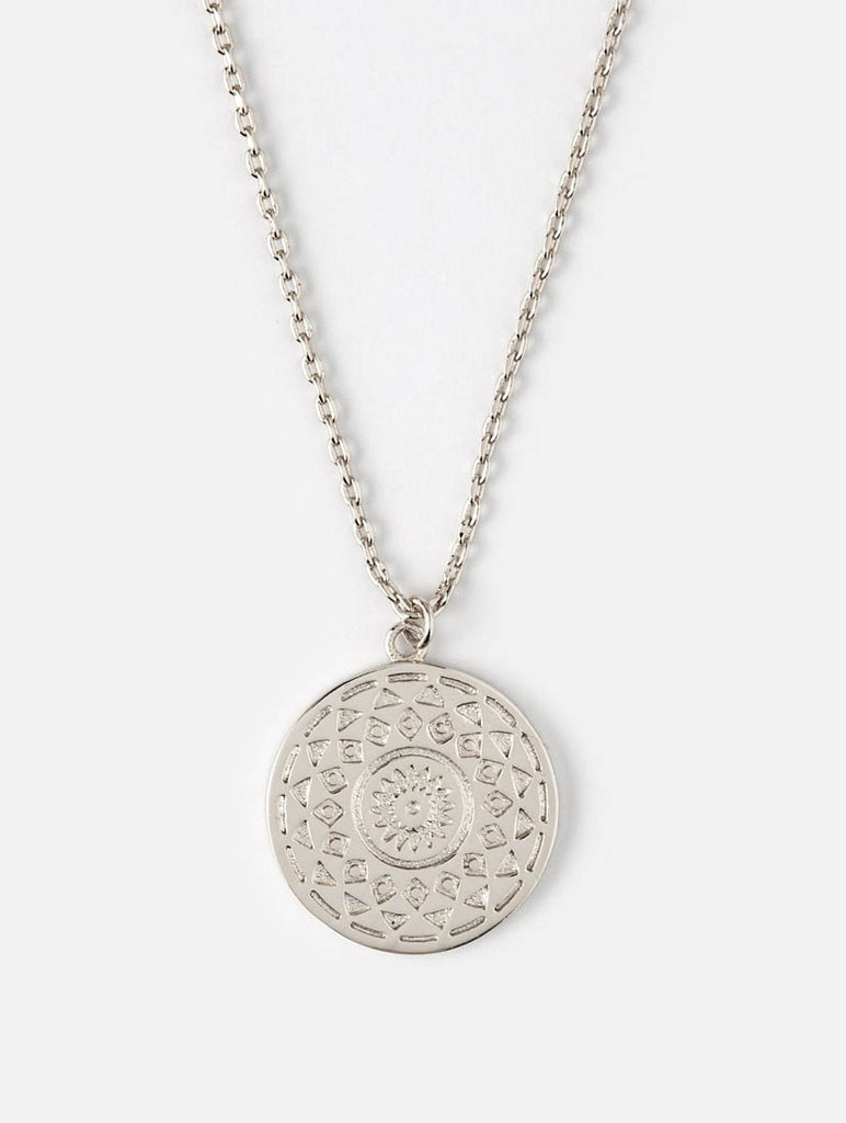 Engraved Coin Ditsy Necklace Silver