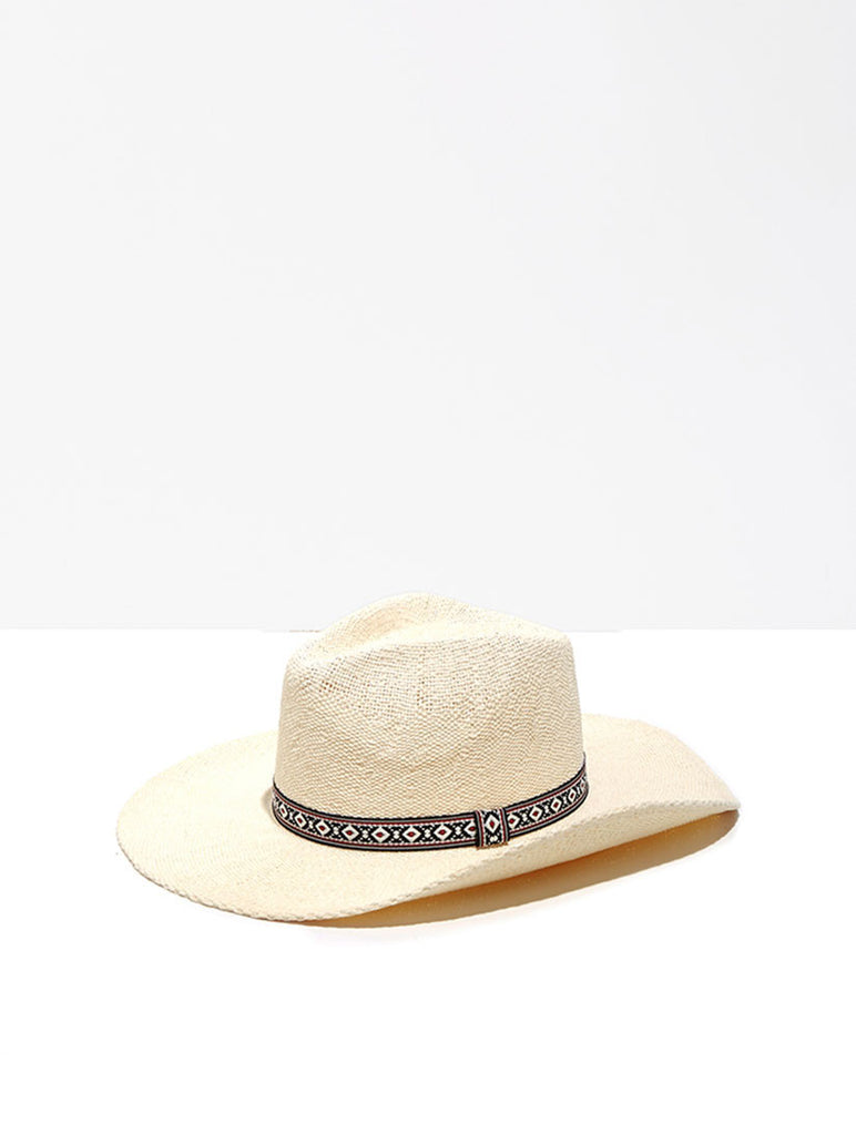 Cream Wide Brim Hat with Ribbon