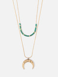 Crescent Seedbead Layered Necklace Gold Green