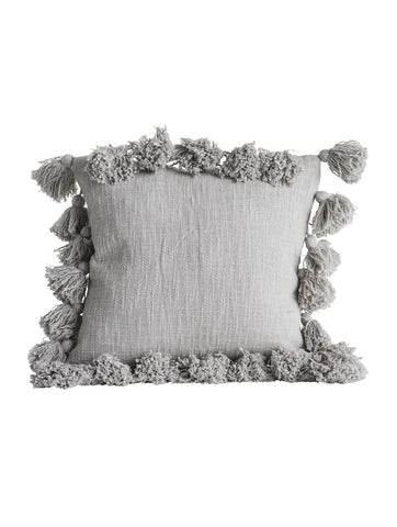 Grey Cushion with Tassels