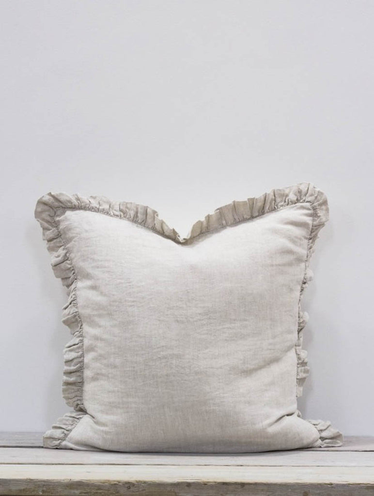 Olivia Ruffle Cushion, Natural