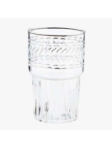 Clear Drinking Glass With Cutting Detail
