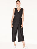 Cropped Denim Jumpsuit with Front Overlay and Side Tie Black