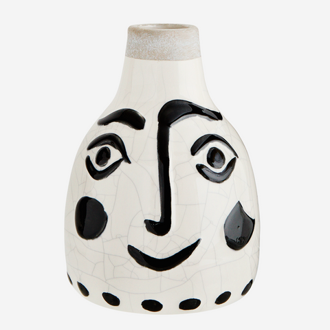 Stoneware Vase with Painted Face