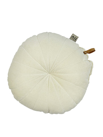 Round Velvet Cushion Ecru