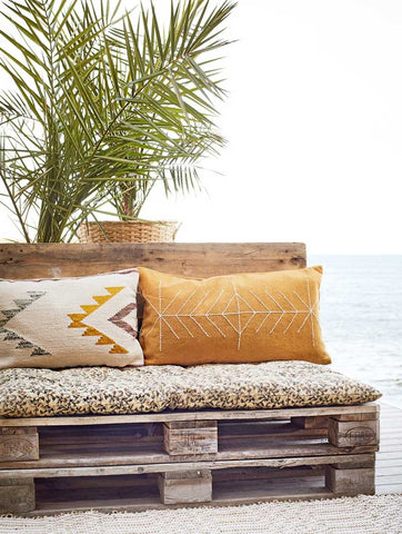 Embroidered Cushion Mustard