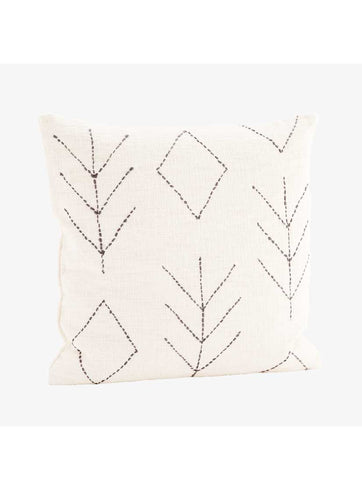 Embroidered Cushion Off White