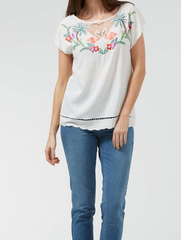 Tropical Flamingo Embroidered Top