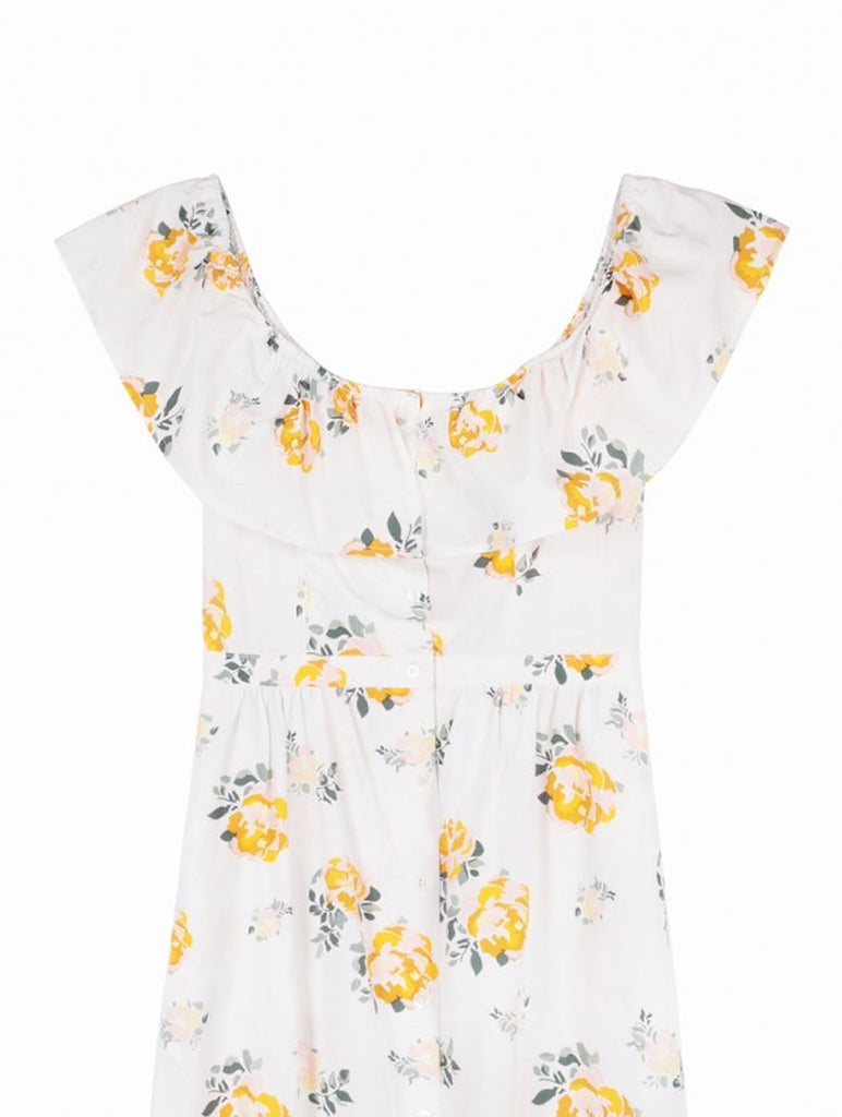 Bardot Dress Floral Yellow