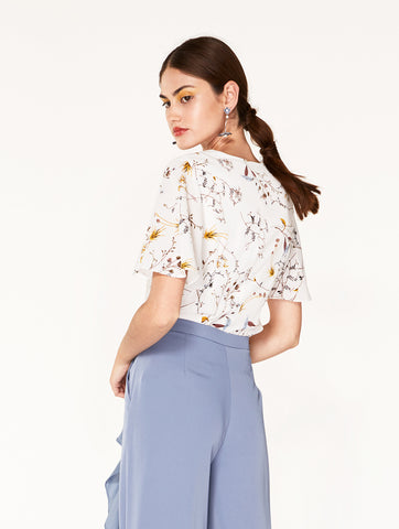 Floral Wrap Top with Flared Sleeves